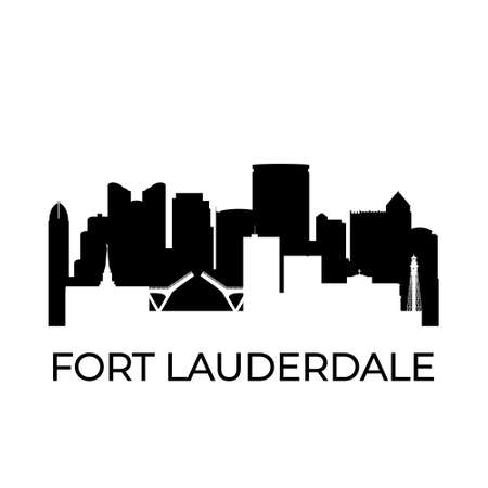 Fort lauderdale, Florida city skyline. Negative space city silhouette. Vector illustration.