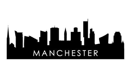 Manchester skyline silhouette. Black Manchester city design isolated on white background.