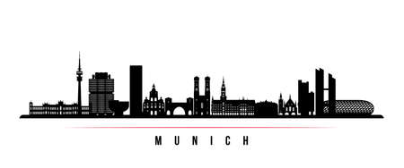 Munich skyline horizontal banner. Black and white silhouette of Munich, Germany. Vector template for your design.