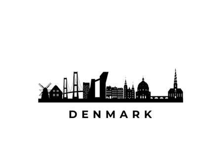 Vector Denmark skyline. Travel Denmark famous landmarks. Business and tourism concept for presentation, banner, web site. Vector Illustration