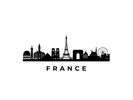 Vector France skyline. Travel France famous landmarks. Business and tourism concept for presentation, banner, web site. Vetores