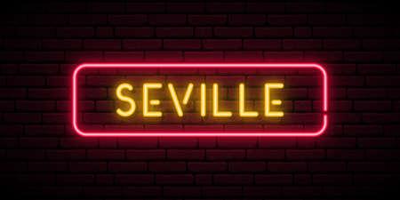 Seville neon sign. Bright light signboard. Vector banner.