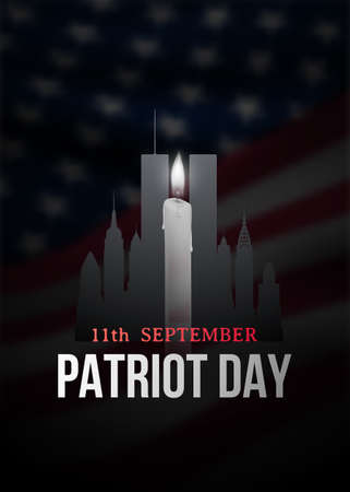 Patriot Day poster with candle, New York silhouette and American flag on a backdrop. 11th September. Vector banner.