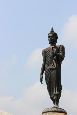 jogjakarta: Black Buddha with clear sky