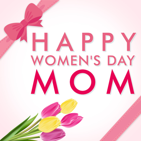 Happy women's day mom, square holiday wish greeting card illustration with flowers and pink text