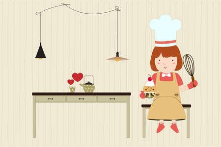 table skirt: Homemade bakery. Coffee and bakery. Pretty girl. Vector illustration Illustration