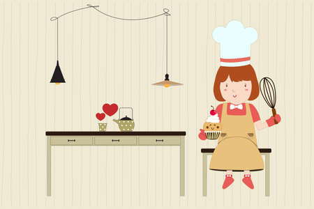 heart tone: Panader�a casera. El caf� y panader�a. Ni�a bonita. Ilustraci�n vectorial Vectores