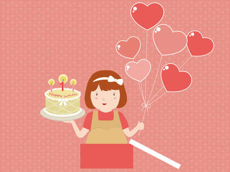 sweet girl with birthday cake happy birthday card royalty free cliparts vectors and stock illustration image 41735768