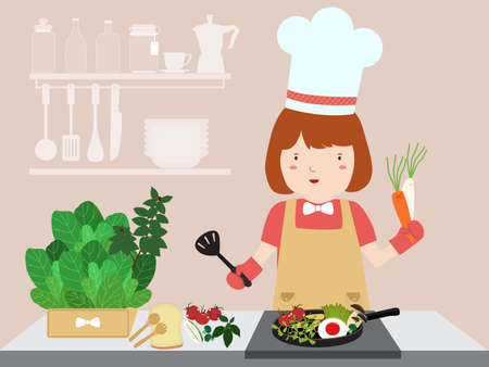 Girl cooking. Healthy food. Illustration