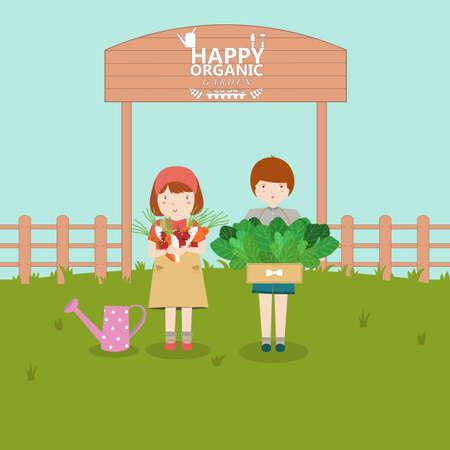 pflanze wachstum: Kinder im Gem�segarten. Pflanzenwachstum Illustration