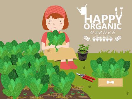 haus garten: Frauen wachsen Gem�se. Anbau von Gem�se in einem Heim Garten. H�bsches M�dchen Illustration