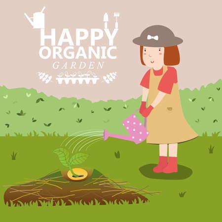 obtain: Girl watering. Organic garden. Plant growing. Pretty girl