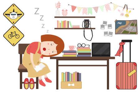 女性は彼女の机で眠っています。本を読んでいる女  イラスト・ベクター素材