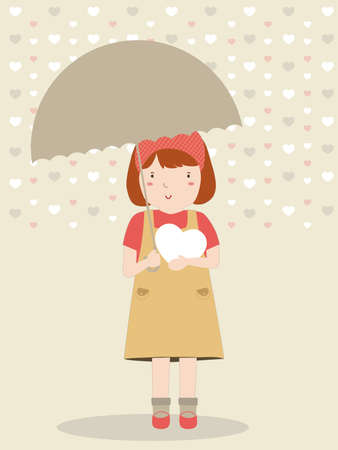 Girl standing with umbrella. Rains and Snow season  イラスト・ベクター素材