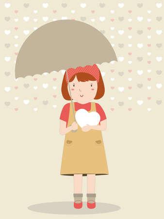 rains: Girl standing with umbrella. Rains and Snow season Illustration