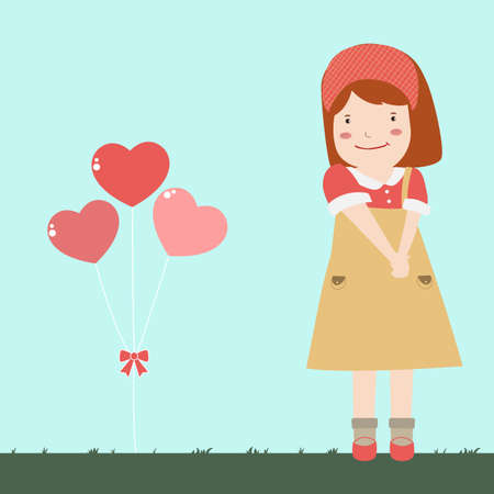 sweet girl in love  イラスト・ベクター素材