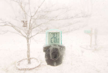squall: a window thermometer with snow storm in the background