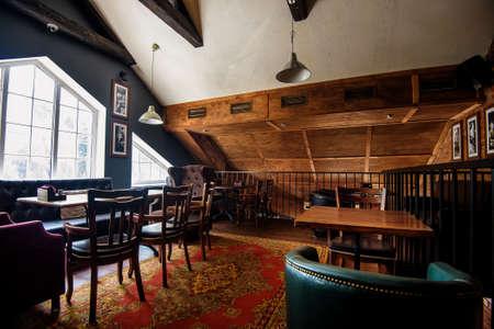 Beautiful brand new european pub in downtown Stock Photo