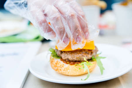 sesame street: Cooking tasty and appetizing hamburger on a plate Stock Photo