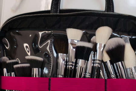 grooming product: Various modern brushes of stylist for creating makeup