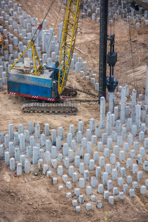 reinforced: Reinforced concrete piles on the construction site