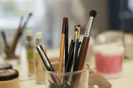 Various modern brushes of stylist for creating makeup