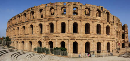 Remains of the colosseum in El Jem Stock Photo