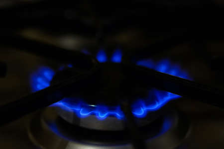 gas stove: Focus on the front edge of the gas burners