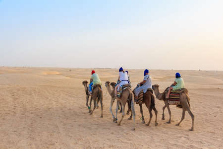 Tourists riding on camels