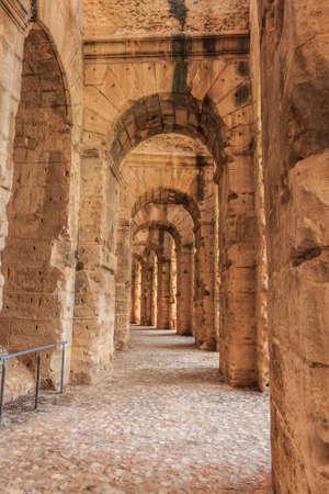 Remains of the colosseum in El Jem Banco de Imagens