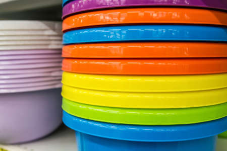 Plastic washbowls of various colors