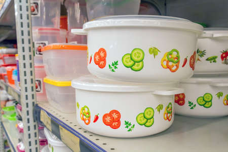 airtight: Plastic Containers on shelf in supermarket