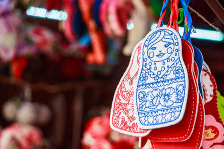 Colorful fleece matryoshka souvenirs Stock Photo