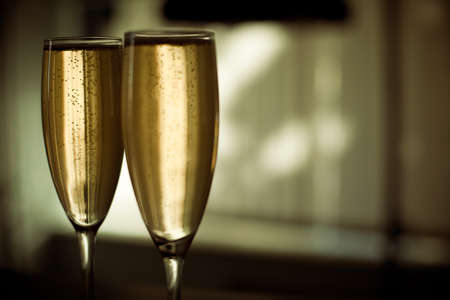 Two glasses of champagne with blurred background Stock Photo