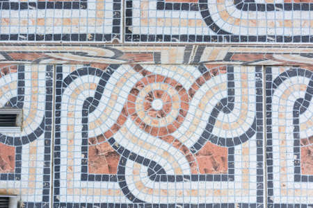 Colorful mosaic floor close up