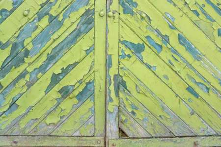 corroded: Green cracked painting on wooden surface