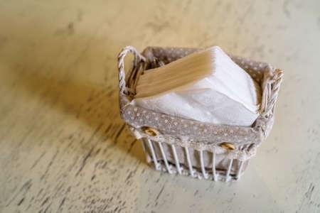 Paper napkins in restaurant Stock fotó