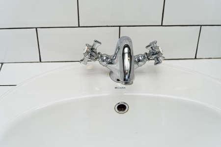 aerator: Modern bathroom washbasin with chrome faucet