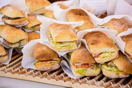filled roll: Sandwiches in bun background
