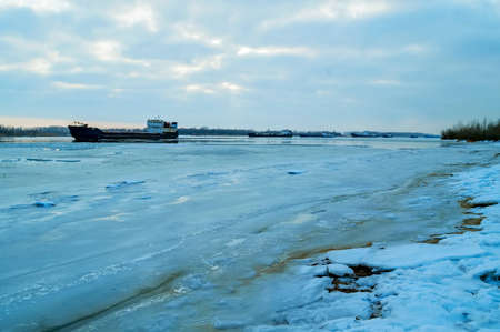 City river barge in winter
