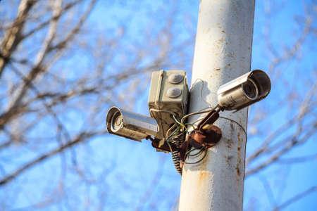 Security cctv cameras on pole