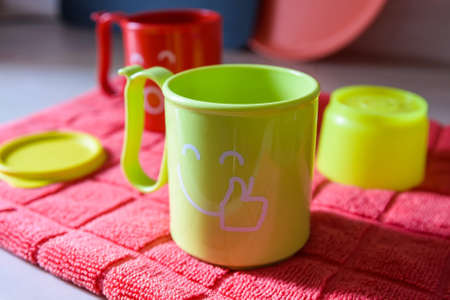 serving utensil: Bright plastic tableware