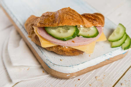 breadbasket: Croissant with ham, cheese and cucumber