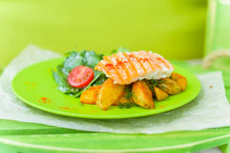 grill: Grilled salmon potatoes and vegetables
