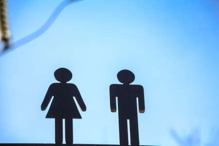 closet door: Two black figures toilet sign Stock Photo