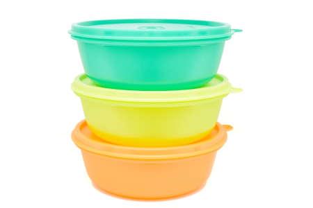 Three empty plastic bowls isolated