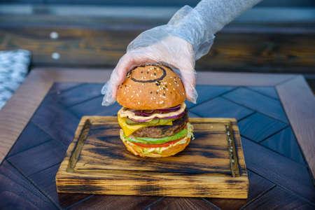 metal grate: Preparing delicious hamburger