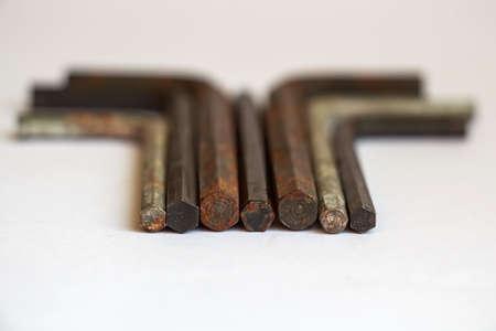 Set of used rusty hex keys