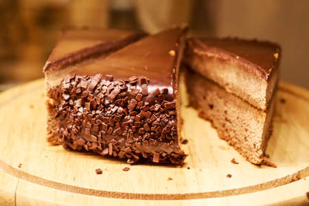Pieces of fresh cake with chocolate