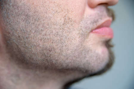 adult sex: Close up side view half shaved beard